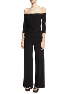 Norma Kamali Off-the-Shoulder Shirred Waist Coverup Jumpsuit