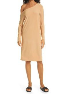 Norma Kamali One-Shoulder Long Sleeve Shift Dress