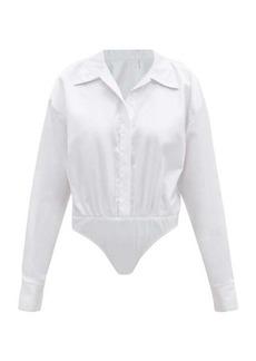 Norma Kamali Open-collar cotton-poplin bodysuit