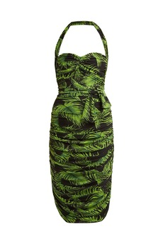 Norma Kamali Palm-print ruched dress