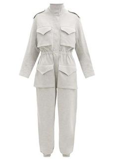 Norma Kamali Patch-pocket cotton-blend jersey jumpsuit