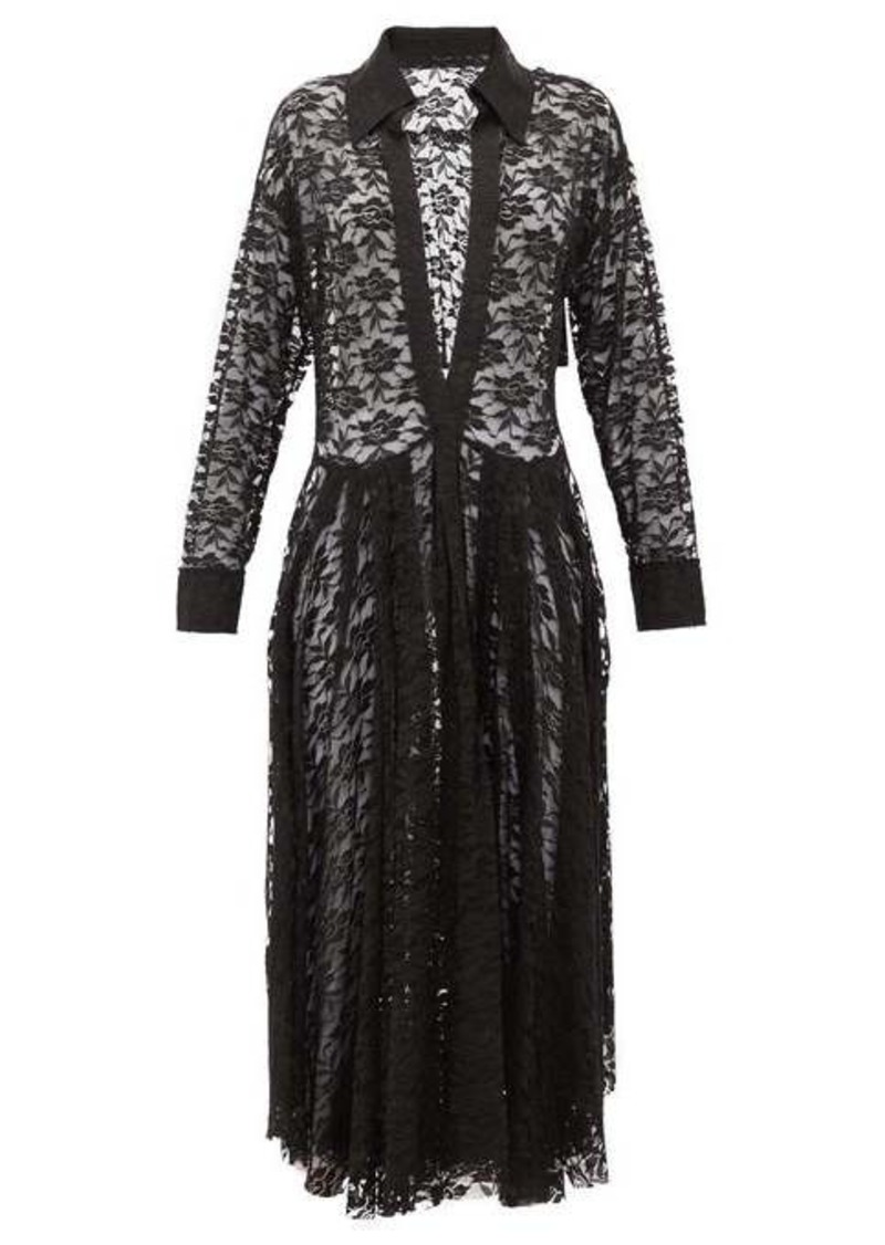 Norma Kamali Plunge-neck floral-lace shirtdress