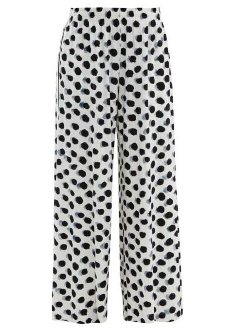 Norma Kamali Polka dot-print side-striped jersey trousers