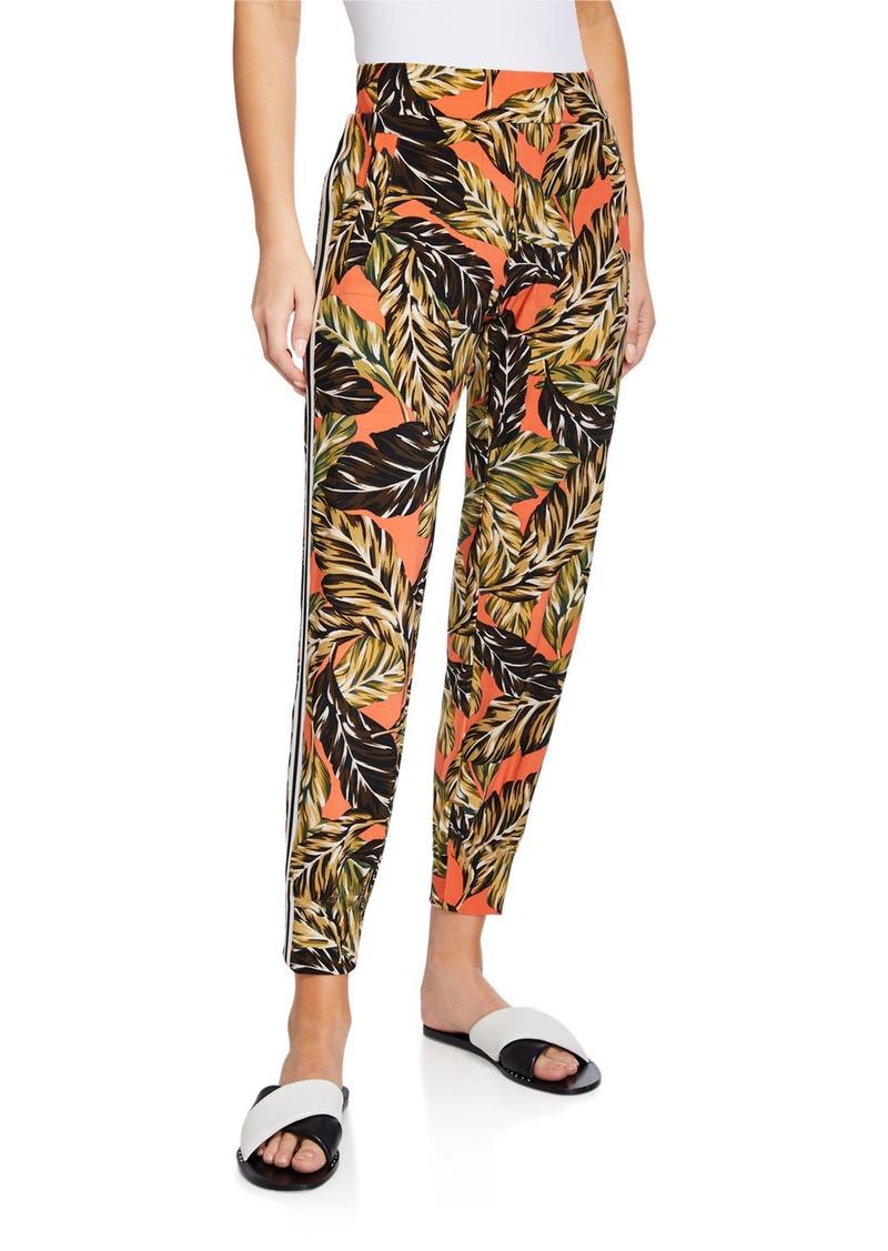 Norma Kamali Printed Side-Stripe Jogger Pants