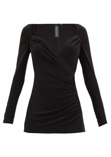 Norma Kamali Queen Anne-neckline gathered stretch-jersey top