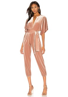 Norma Kamali Rectangle Jog Velvet Jumpsuit