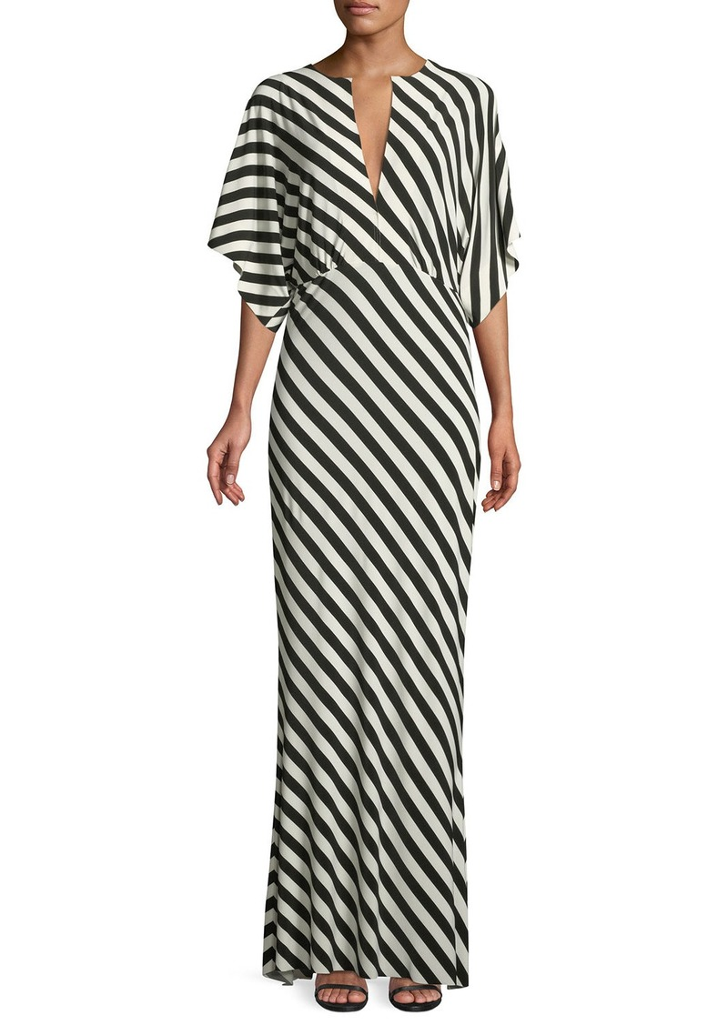 Norma Kamali Rectangle Plunging-Neck Short-Sleeve Gown