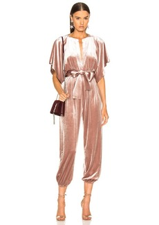 Norma Kamali Rectangle Velvet Jog Jumpsuit