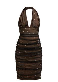 Norma Kamali Rhinestone-embellished halterneck dress