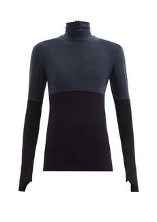 Norma Kamali Roll-neck bi-colour jersey T-shirt