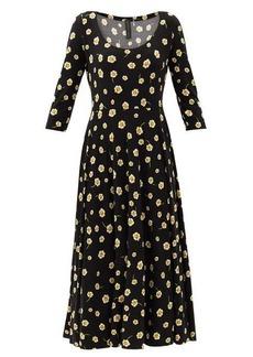 Norma Kamali Scoop-neck floral-print jersey dress