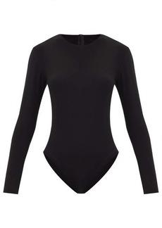 Norma Kamali Scoop-neck jersey long-sleeved bodysuit