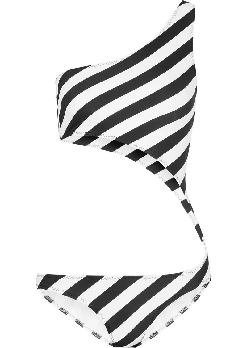 Norma Kamali Shane one-shoulder cutout striped swimsuit