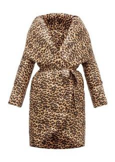 Norma Kamali Shawl-lapel leopard-print technical-shell coat