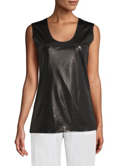Norma Kamali Shiny Sleeveless U-Neck Active Top