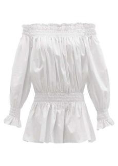 Norma Kamali Shirred cotton-poplin mini dress