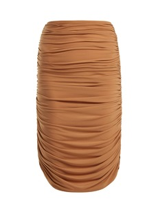 Norma Kamali Shirred ruched skirt