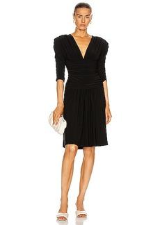 Norma Kamali Shirred Sleeve V Neck Shirred Waist Dress