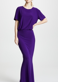 Norma Kamali Short Sleeve Boxy Top Fishtail Gown