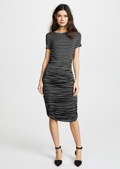 Norma Kamali Short Sleeve Crew Neck Shirred Dress