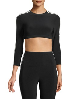 Norma Kamali Side-Stripe 3/4-Sleeve Crop Top