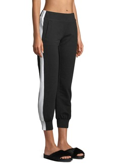 Norma Kamali Side-Stripe Cropped Jogger Pants