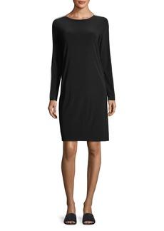 Norma Kamali Side-Stripe Long-Sleeve Knee-Length Dress