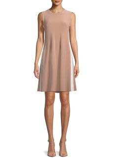 Norma Kamali Side-Stripe Sleeveless Mini Swing Dress