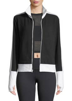 Norma Kamali Side-Stripe Turtleneck Jacket