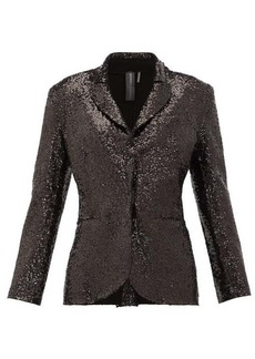 Norma Kamali Single-breasted sequinned jersey blazer