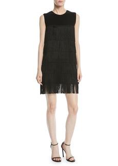 Norma Kamali Sleeveless Fringe Mini Dress