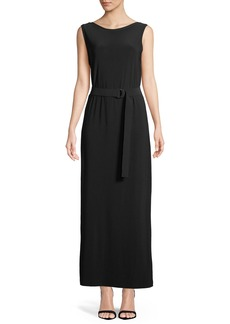 Norma Kamali Sleeveless Open-Back Gown w/ D-Ring Belt