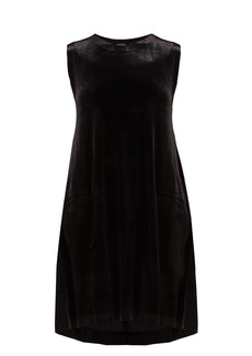 Norma Kamali Sleeveless stretch-velvet midi dress