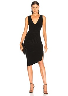 Norma Kamali Sleeveless V Neck Side Drape Dress