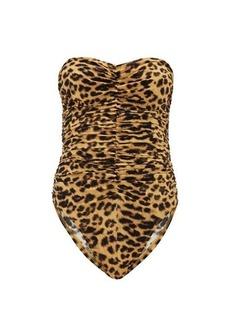 Norma Kamali Slinky Marissa strapless leopard-print swimsuit