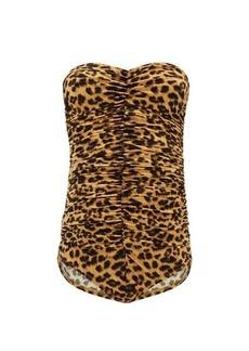 Norma Kamali Slinky Mio leopard-print shirred swimsuit