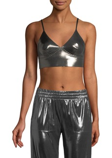 Norma Kamali Slip Metallic Sports Bra