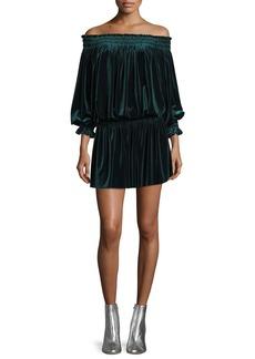 Norma Kamali Smocked Velvet Peasant Off-Shoulder Dress
