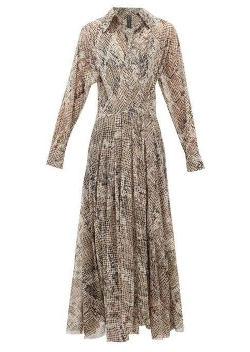 Norma Kamali Snake-print jersey wrap dress