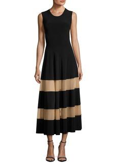 Norma Kamali Spliced Flared Cocktail Midi Dress w/ Sheer Inserts