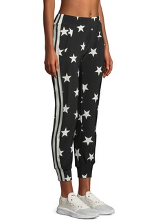 Norma Kamali Star-Print Side-Stripe Jogger Pants