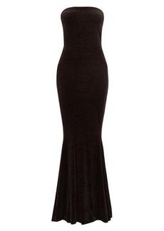 Norma Kamali Strapless fishtail velvet dress