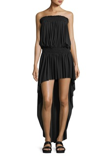 Norma Kamali Strapless High-Low Peasant Dress Coverup