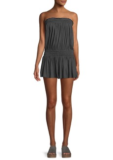 Norma Kamali Strapless Peasant Coverup Romper