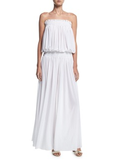 Norma Kamali Strapless Peasant Wide-Leg Coverup Jumpsuit