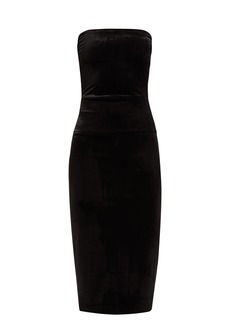 Norma Kamali Strapless velvet midi dress