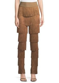 Norma Kamali Stretchy All Over Fringe Boot-Cut Pants