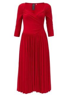 Norma Kamali Sweetheart-neck jersey midi dress