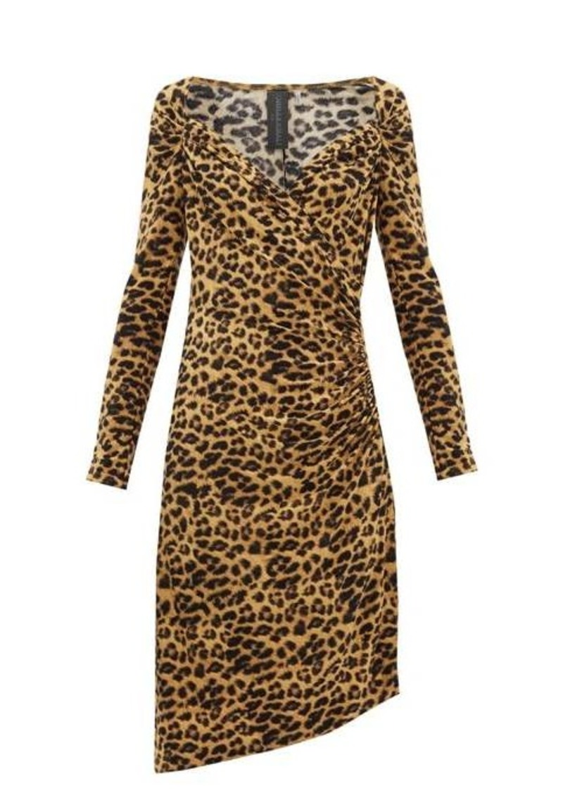 Norma Kamali Sweetheart-neck leopard-print jersey dress