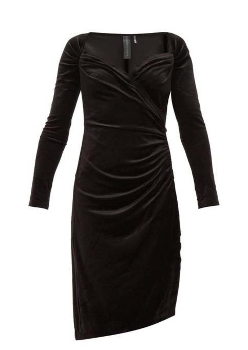 Norma Kamali Sweetheart-neckline velvet dress
